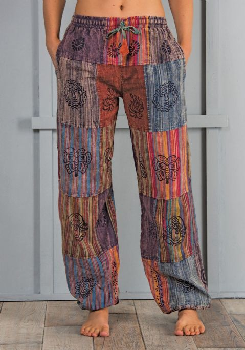 Stonewashed Patchwork Block Print Fair Trade Trousers